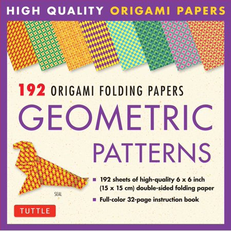 10 Fold Origami (192 Origami Folding Papers in Geometric Patterns : 6x6 Inch High-Quality Origami Paper Printed with 8 Different Patterns: Origami Book with Instructions for 10 Projects Included)