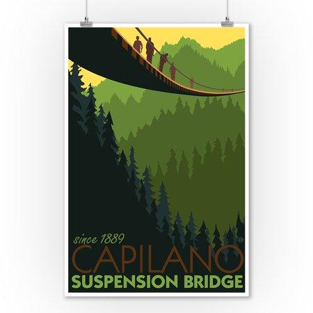 Vancouver, British Columbia - Capilano Suspension Bridge - Lantern Press Artwork (9x12 Art Print, Wall Decor Travel Poster)