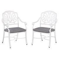 Floral Blossom White Set of Arm Chairs w/ Cushion