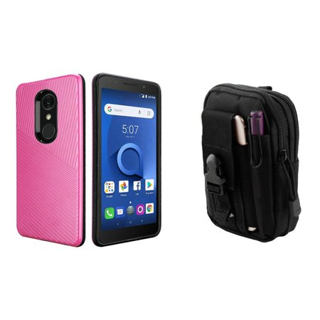 HR Textured Lines Hybrid Case (Hot Pink) with Tactical EDC MOLLE Belt Bag Pouch and Atom Cloth for Alcatel -