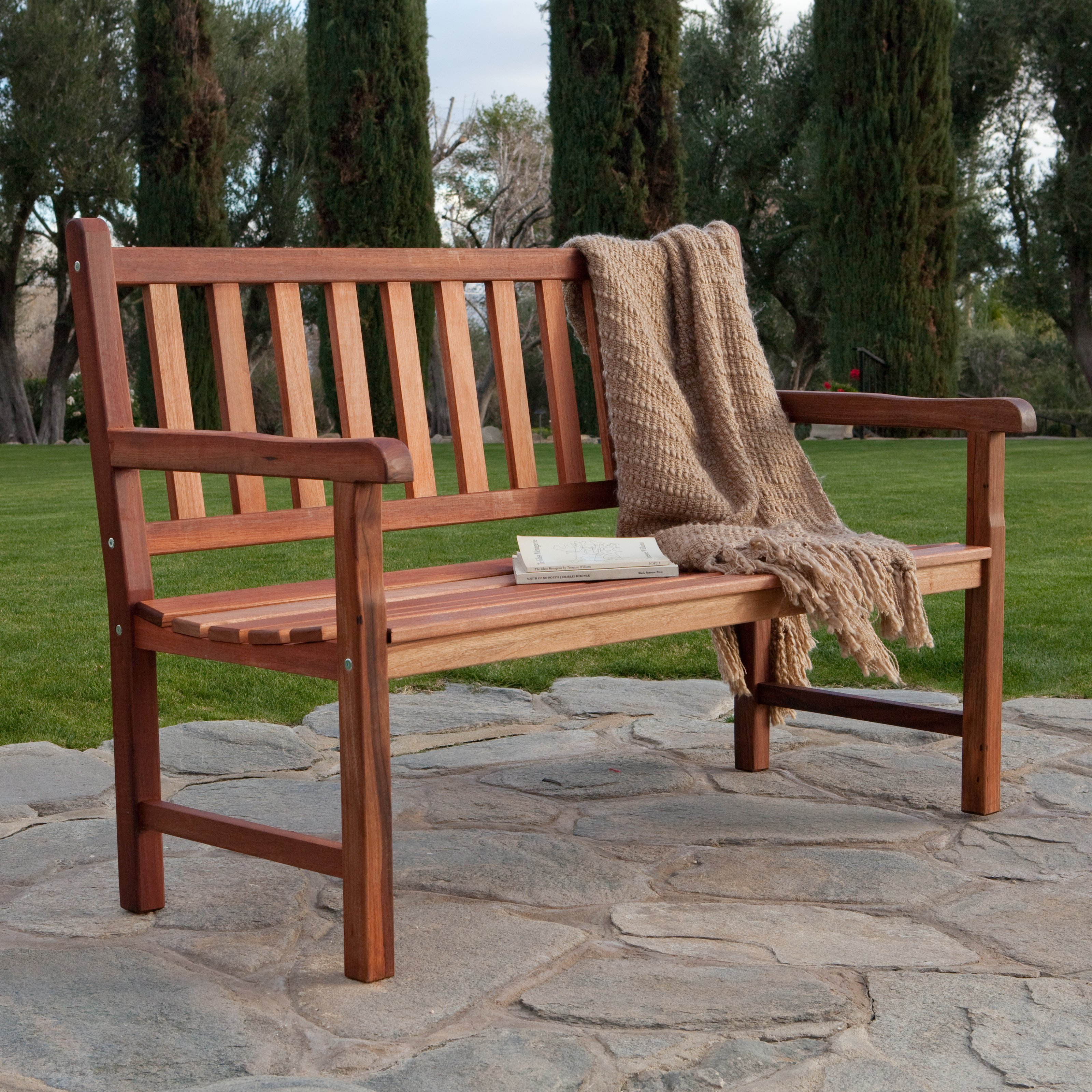 belham living richmond straight back 4 ft outdoor wood bench