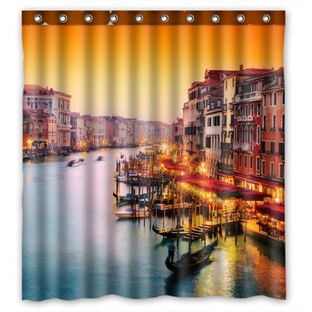 YKCG Venice Italy European Cityscape Gondola Floats on Grand Canal Shower Curtain Waterproof Fabric Bathroom Shower Curtain 66x72 inches - European Polished Shower