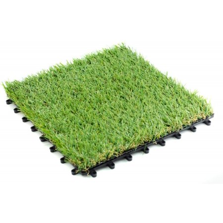 Pet Zen Garden Premium Artificial Grass Interlocking Tile w/ Drainage Holes|4-Tone Synthetic Grass Tile|Height of Tile with Grass Blades - 35mm|Extra-Heavy & Soft Pet Turf|Set of 9