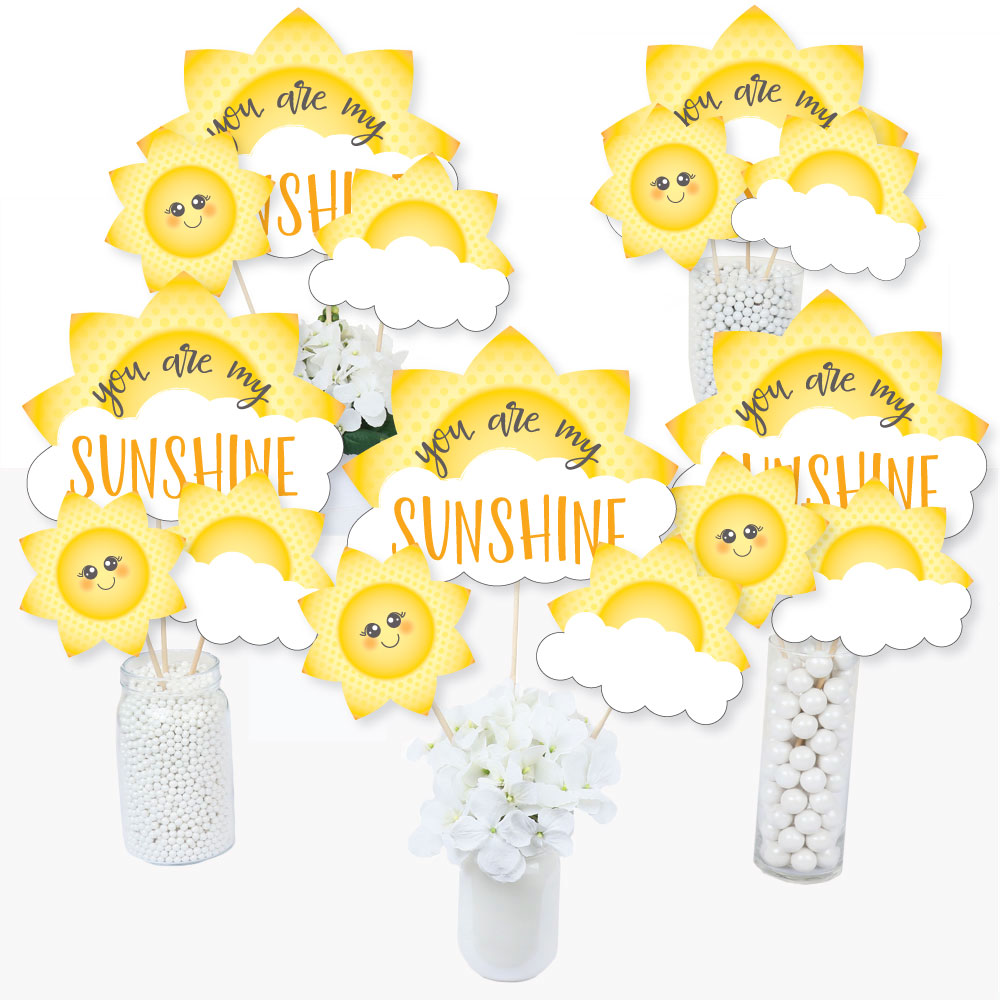 You Are My Sunshine - Baby Shower or Birthday Party Centerpiece Sticks - Table Toppers - Set of 15
