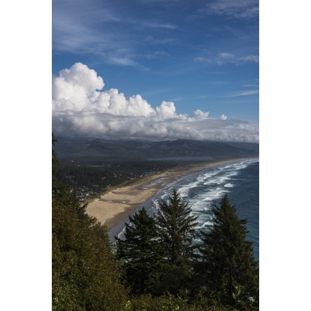 Neahkahnie Beach viewed from a roadside viewpoint Manzanita Oregon United States of America Canvas Art - Robert L Potts Design Pics (12 x 19)
