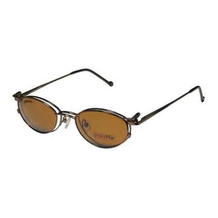 New Smartflip 405-B Mens/Womens Designer Full-Rim Shiny Brown With Polarized Polaroid Clip-on Lens Frame Demo Lenses 48-19-135 Sunglass Lens Clip-Ons Flexible Hinges (Sunglass For Man)