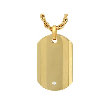 Gold Mens Robe - Men's Gold Tone Cubic Zirconia Dog Tag with 24
