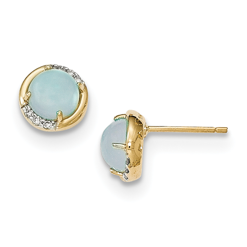 14k Blue Chalcedony and Diamond Post Earrings by Best Price Product