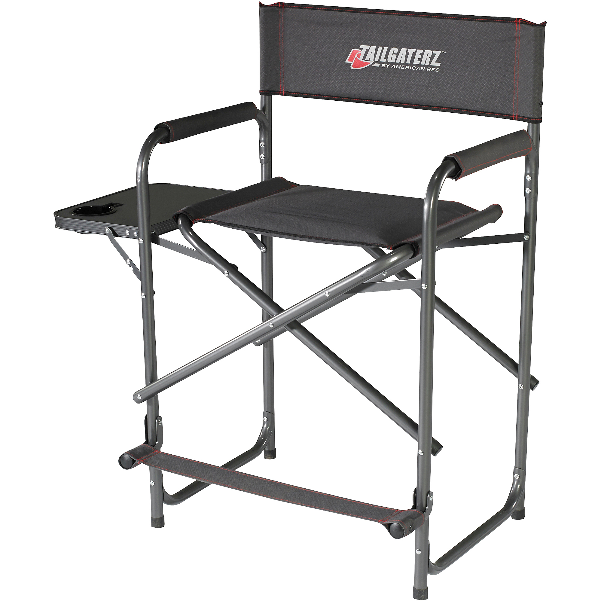 Tailgaterz Take Out Seat with Side Table Game Day Graphite