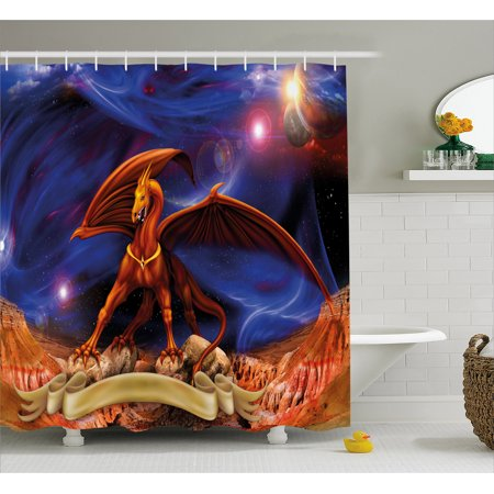 Dragon Shower Curtain  Fantasy Scene With Dragon Knight Against Cosmos Galaxy Planetary Space Background  Fabric Bathroom Set With Hooks  69W X 70L Inches  Blue Cinnamon  By Ambesonne