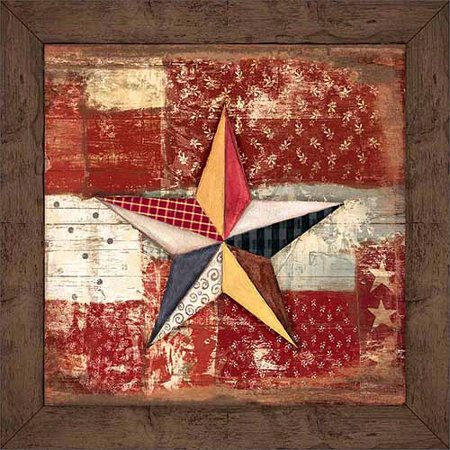 Primitive Folk Art Painting - Rustic Americana Patchwork Star Wood Grain Primitive Patterned Panels Painting Red & Brown Canvas Art by Pied Piper Creative