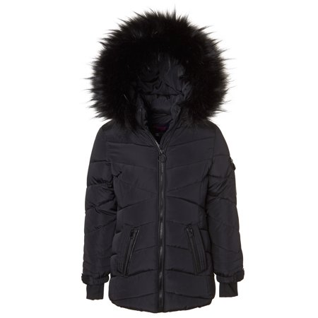 Sportoli Girls' Heavy Quilt Lined Fashion Winter Jacket Coat Fur Trimmed Hood - Black (7/8)](Hooded Cape With Fur Trim)
