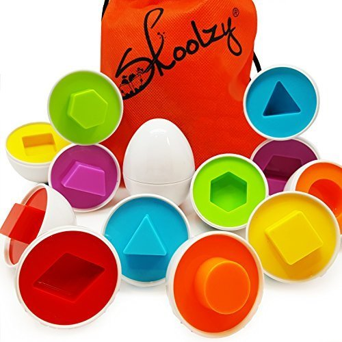 skoolzy shapes toddler games egg toy learning colors and geometric shapes  matching preschool toys puzzles for 2, 3, 4 year olds - montessori fine ...