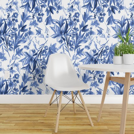 Removable Water Activated Wallpaper Painterly Blue White Floral Cool Colors