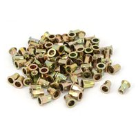 Uxcell M6 x 15mm Half Hex Body Flat Head Open Ended Rivet Nut Nutsert (100-pack)