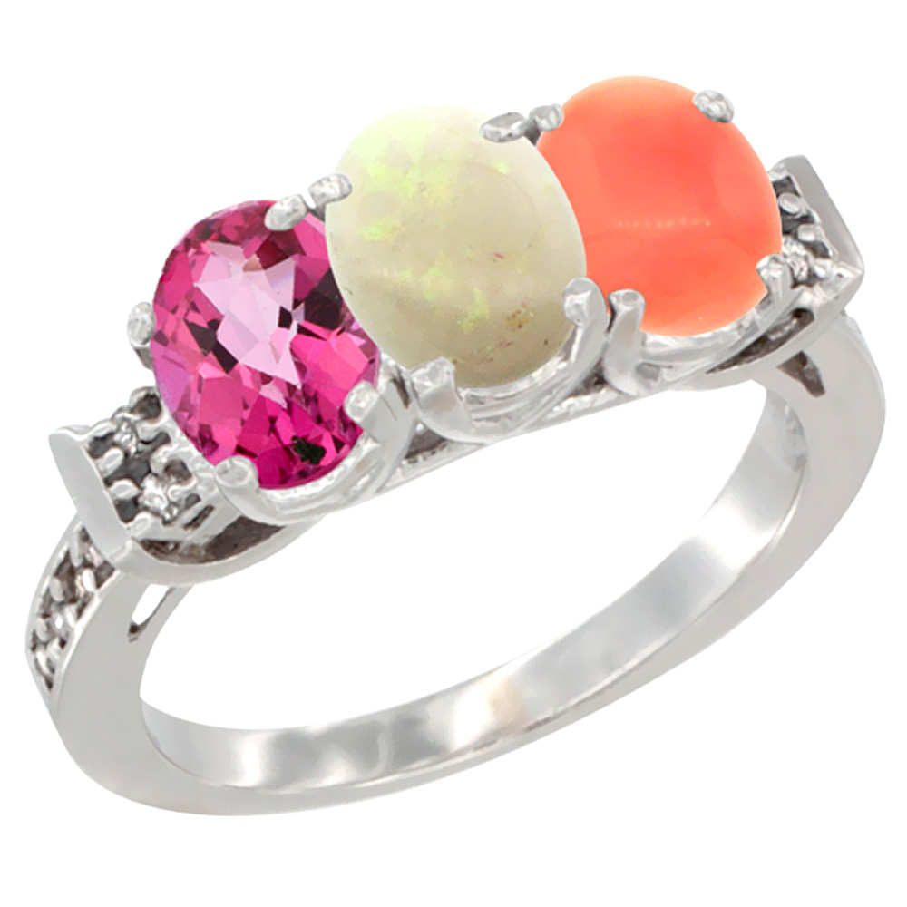 14K White Gold Natural Pink Topaz, Opal & Coral Ring 3-Stone Oval 7x5 mm Diamond Accent, sizes 5 10 by WorldJewels