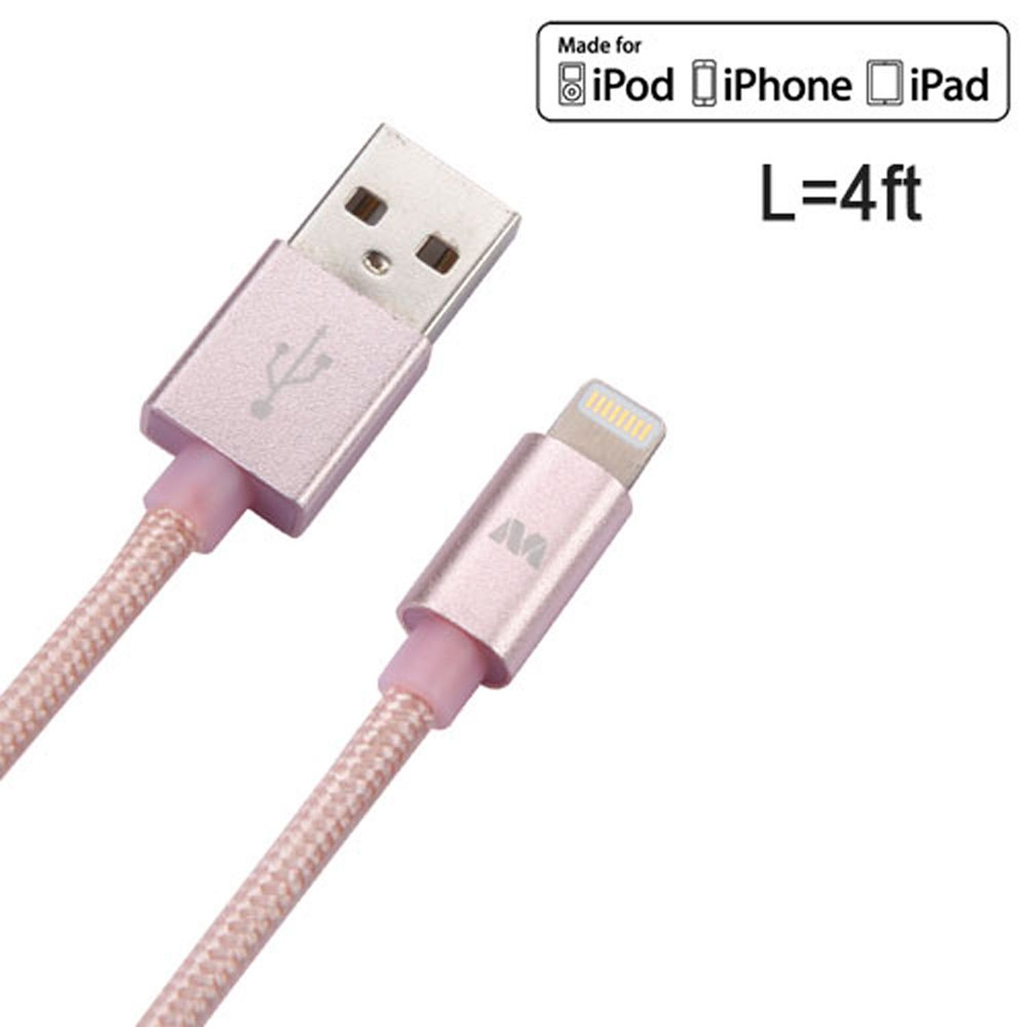 "iPhone Charger Cable by Insten 4 Feet 4' Rose Gold Apple MFi Certified Braided Lightning Durable Cable Charger Cord for iPhone X 8 8+ Plus 7 7+ 6 6+ 6s 6s+ 5s 5 SE iPad Air Mini Pro 12.9"" 10.5"" 9.7"""
