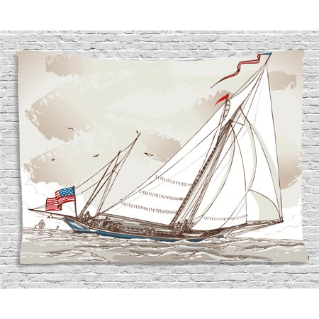 Vintage Tapestry, Illustration of a Retro View of Antique American Yacht with Flags Ocean, Wall Hanging for Bedroom Living Room Dorm Decor, 60W X 40L Inches, Light Grey Tan White, by Ambesonne ()