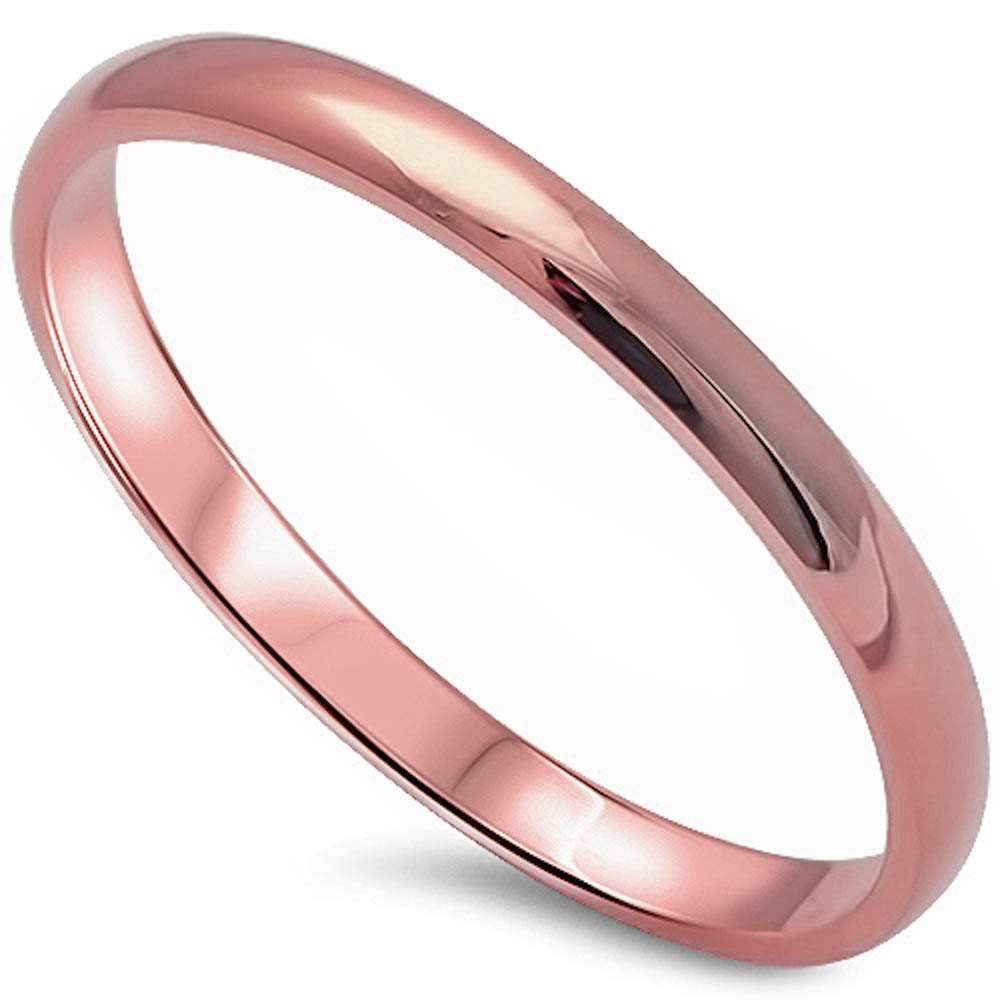 Brightt Solid 2MM Plain Rose Gold Plated .925 Sterling Silver Wedding Band Sizes 2-12