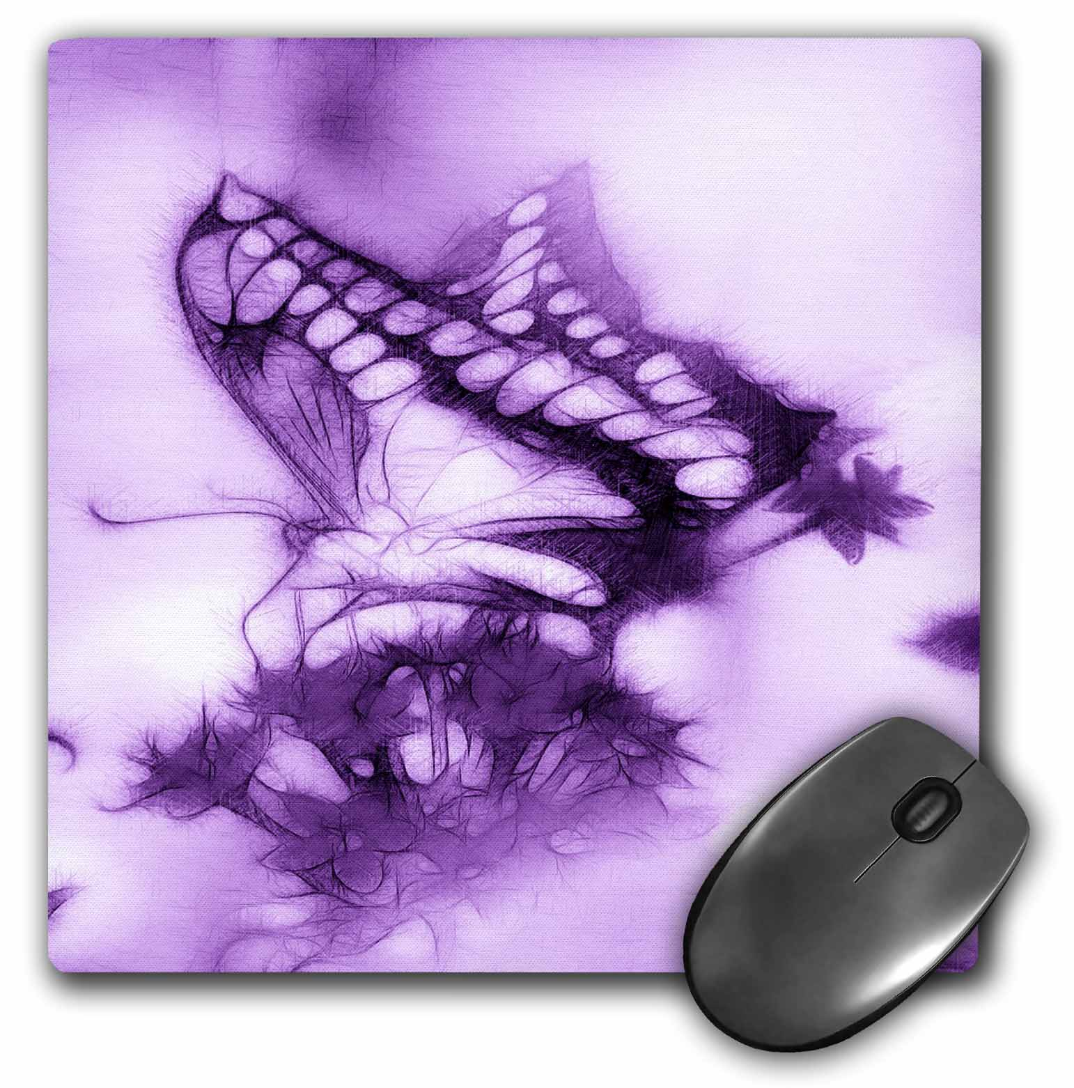 3dRose Butterfly A purple, Mouse Pad, 8 by 8 inches