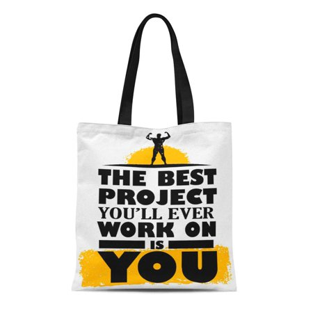 LADDKE Canvas Tote Bag Workout the Best Project Is You Diet Textual Inspire Reusable Handbag Shoulder Grocery Shopping