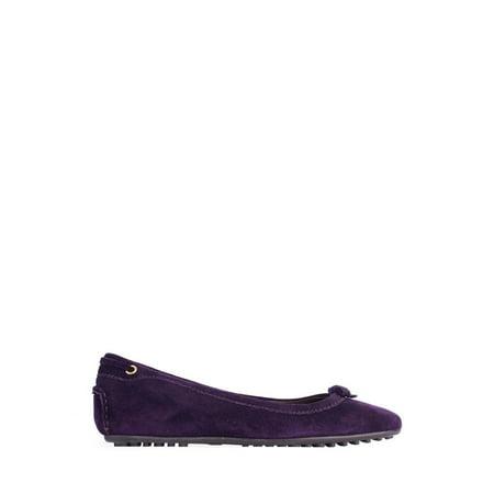 Car Shoe By Prada Dark Purple Suede Ballerina Flats