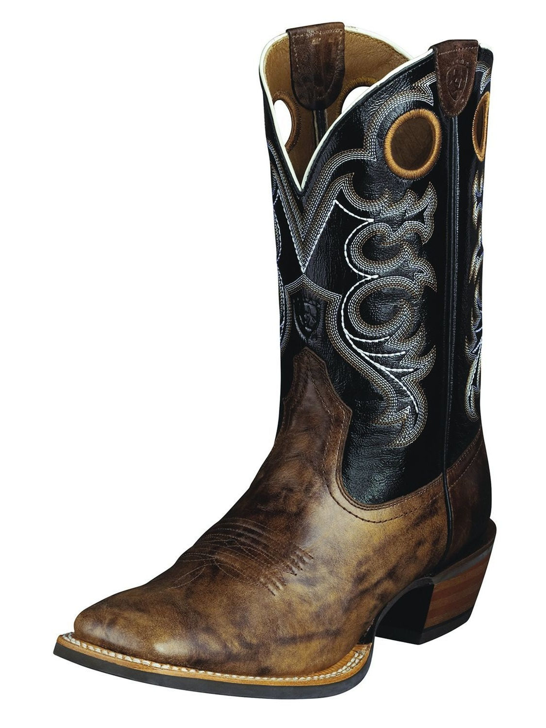 Ariat Crossfire Men 2E Round Toe Leather Black Western Boot by Ariat
