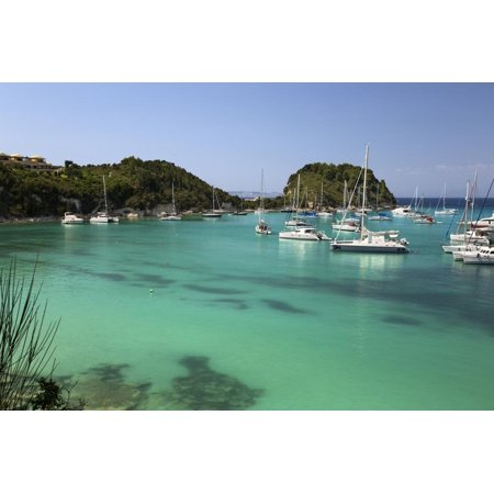 Yachts anchored in bay, Lakka, Paxos, Ionian Islands, Greek Islands, Greece, Europe Print Wall Art By Stuart