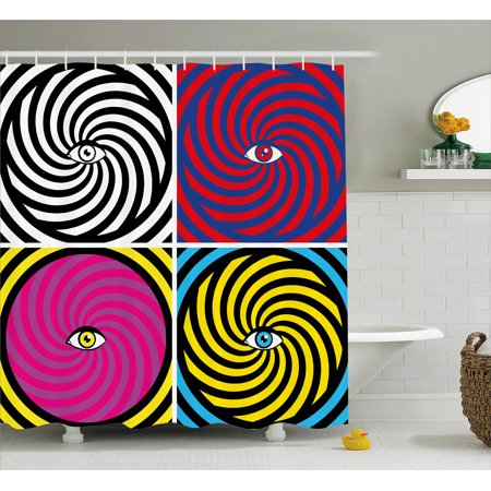 Psychedelic Shower Curtain Pop Art Style Hypnotic Design Swirling Patterns With Eye In Centre Dizzy
