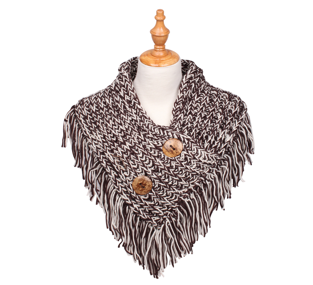 Cable Knit Button Collar Scarf Coffee/Ivory