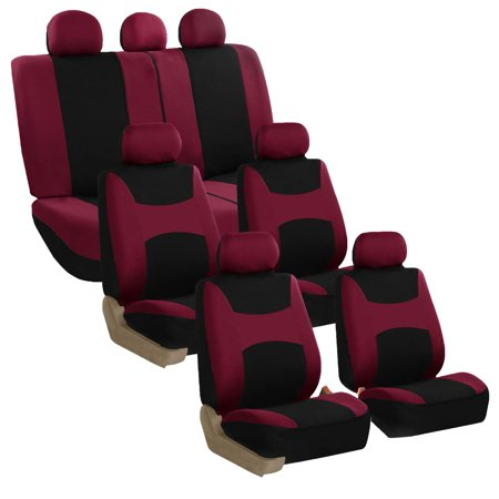 FH Group Car Seat Covers Flat Cloth, Airbag Compatible, Split Benches, 3 Rows-Universal Fit for Cars, Auto, Trucks, SUV