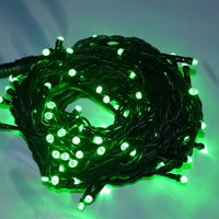 Perfect Holiday - 100 LED Green Wire String Light w/ connector - Green