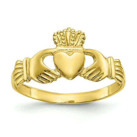 10D1863 9 mm 10K Yellow Gold Polished Ladies Claddagh Ring, Size 7