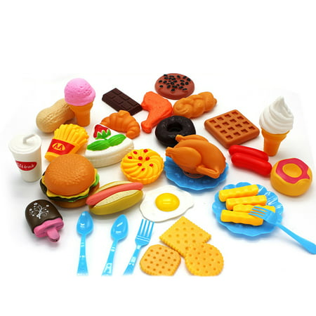 Generic Plastic Fast Food Playset Mini Hamburg French Fries Hot Dog Ice Cream Cola Food Toy for Children Pretend Play Gift for Kids - Halloween Themed Food For Kids
