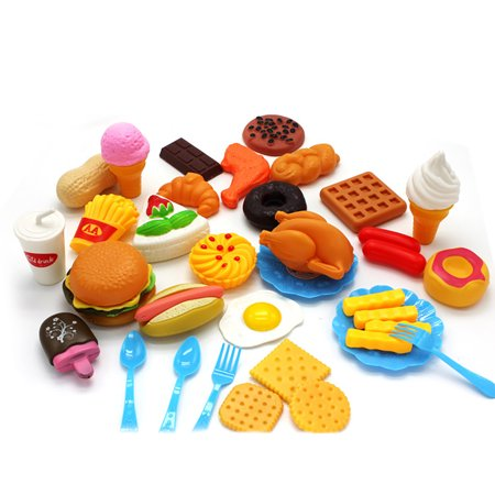 Generic Plastic Fast Food Playset Mini Hamburg French Fries Hot Dog Ice Cream Cola Food Toy for Children Pretend Play Gift for Kids
