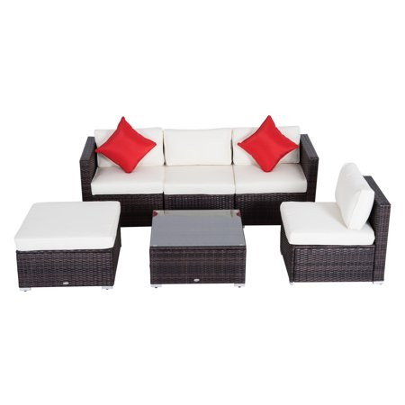 Outsunny 6 Piece Outdoor Patio PE Rattan Wicker Sectional Sofa Deluxe  Furniture Set
