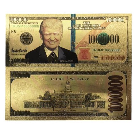 Million Dollar Bill With US President Donald Trump 24k Gold Plated Fake Banknote Currency For