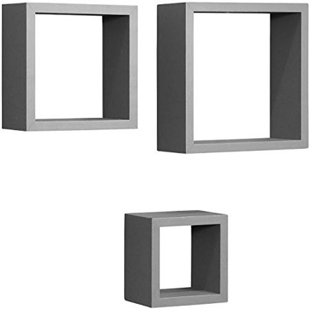 Decorative Item Set - Sorbus Floating Square Shelves - Cube/Square Frame Design for Photos, Decorative Items, and Much More ( Set of 3, Grey)