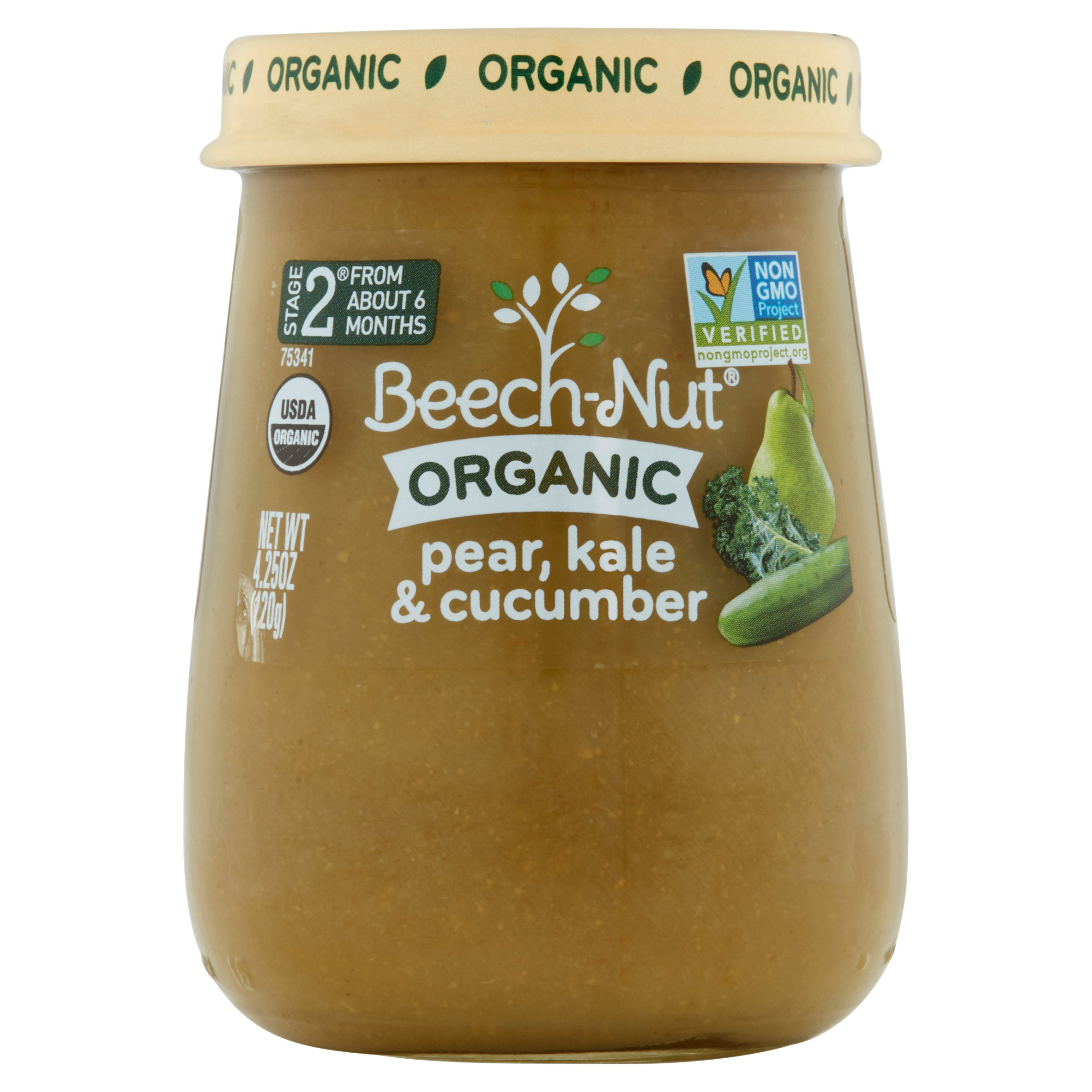 Beech-Nut Organic  Stage 2 Pear, Kale & Cucumber Baby Food, 4.25 oz, (Pack of 10)