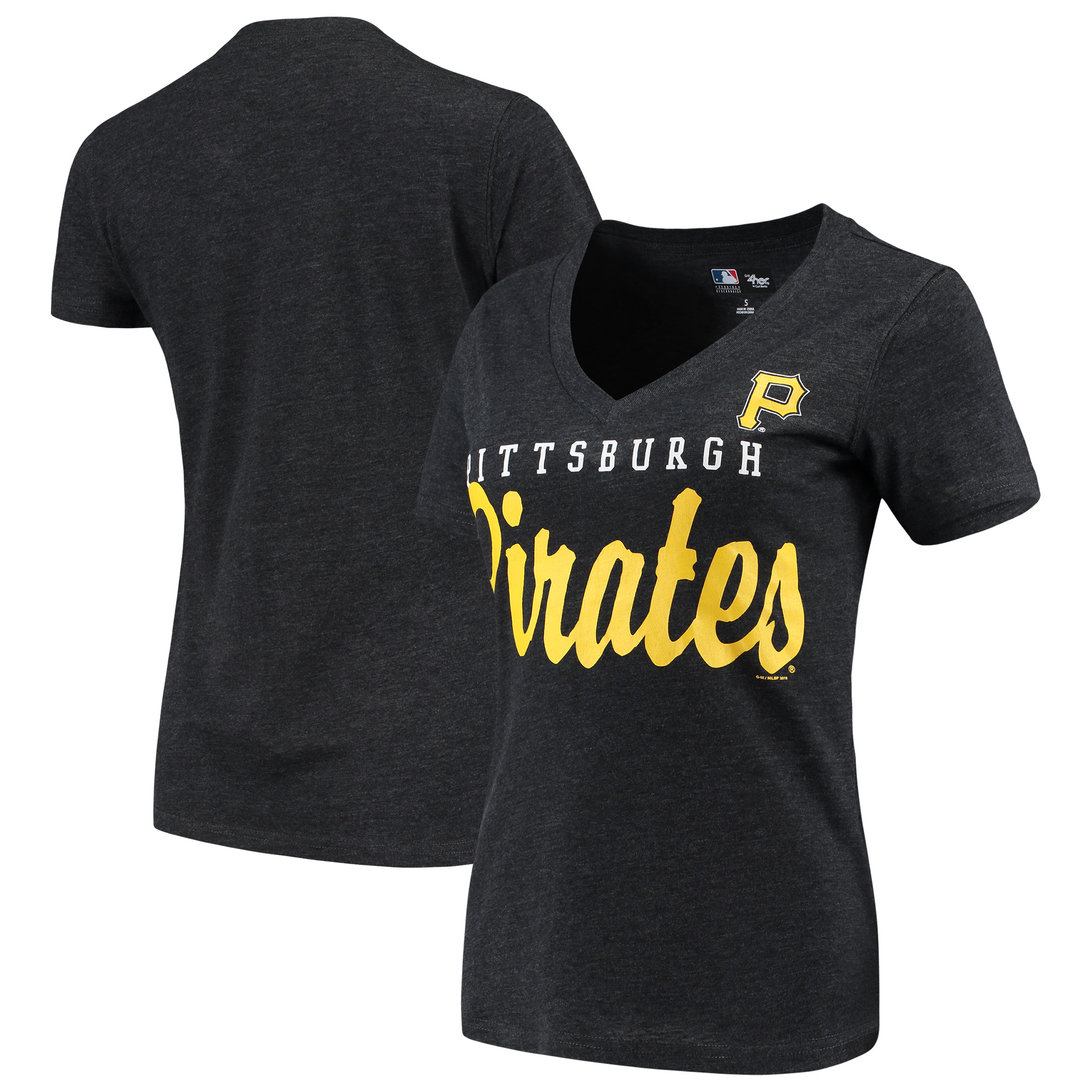 Pittsburgh Pirates G-III 4Her by Carl Banks Women's Game Day V-Neck T-Shirt - Black
