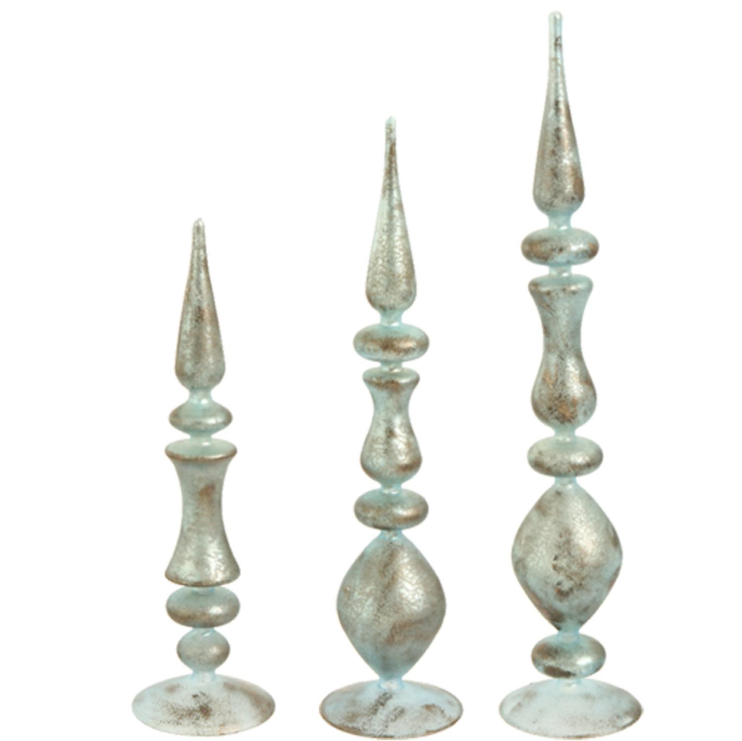 Set of 3 Silent Luxury Baby Blue Antiqued Christmas Table Top Finials Decoration
