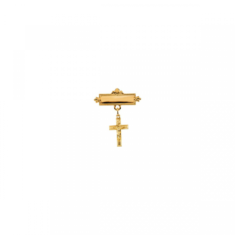 Baptismal Brooch with Crucifix R16775   14Kt Yellow   14.00X09.00 Mm   Polished   Crucifix Baptismal Pin by Midwest Jewellery