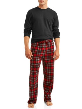Hanes Men's Thermal Waffle Crew & Xtemp Cozy Fleece Plaid Pant