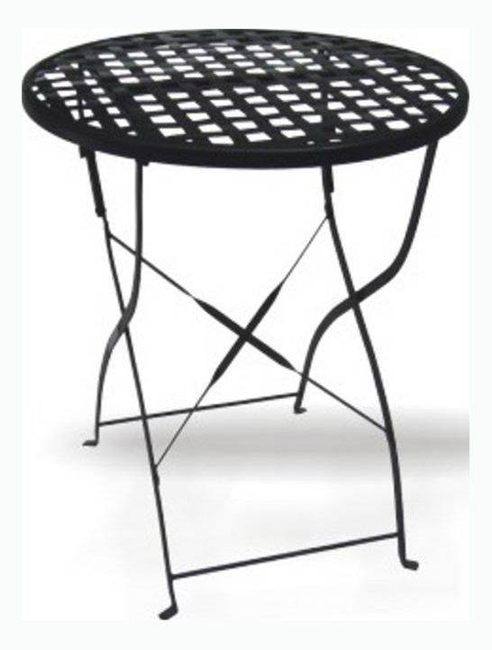 Merveilleux DC America Round Wrought Iron Folding Table With Mesh Top