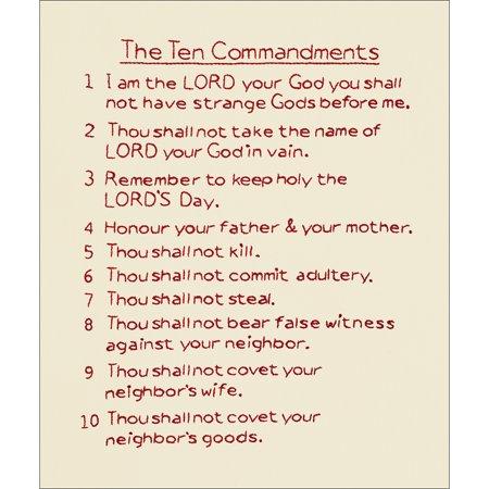 "Stamped Antique Sampler 11""X14""-10 Commandments"