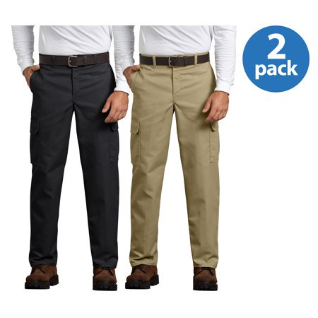 Genuine Dickies Mens Relaxed Fit Flat Front Cargo Pants, 2 Pack ()