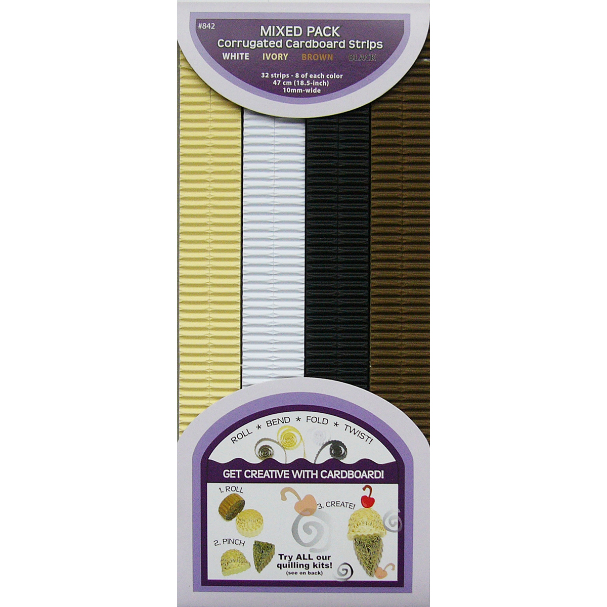 """Quilling Paper Corrugated, 18.5"""" x 10mm, 32pk, Brown, Ivory and White"""