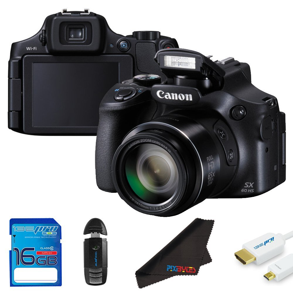 Canon PowerShot SX60 HS 16.1MP Digital Camera + 16GB Pixi-Starter Accessory Bundle
