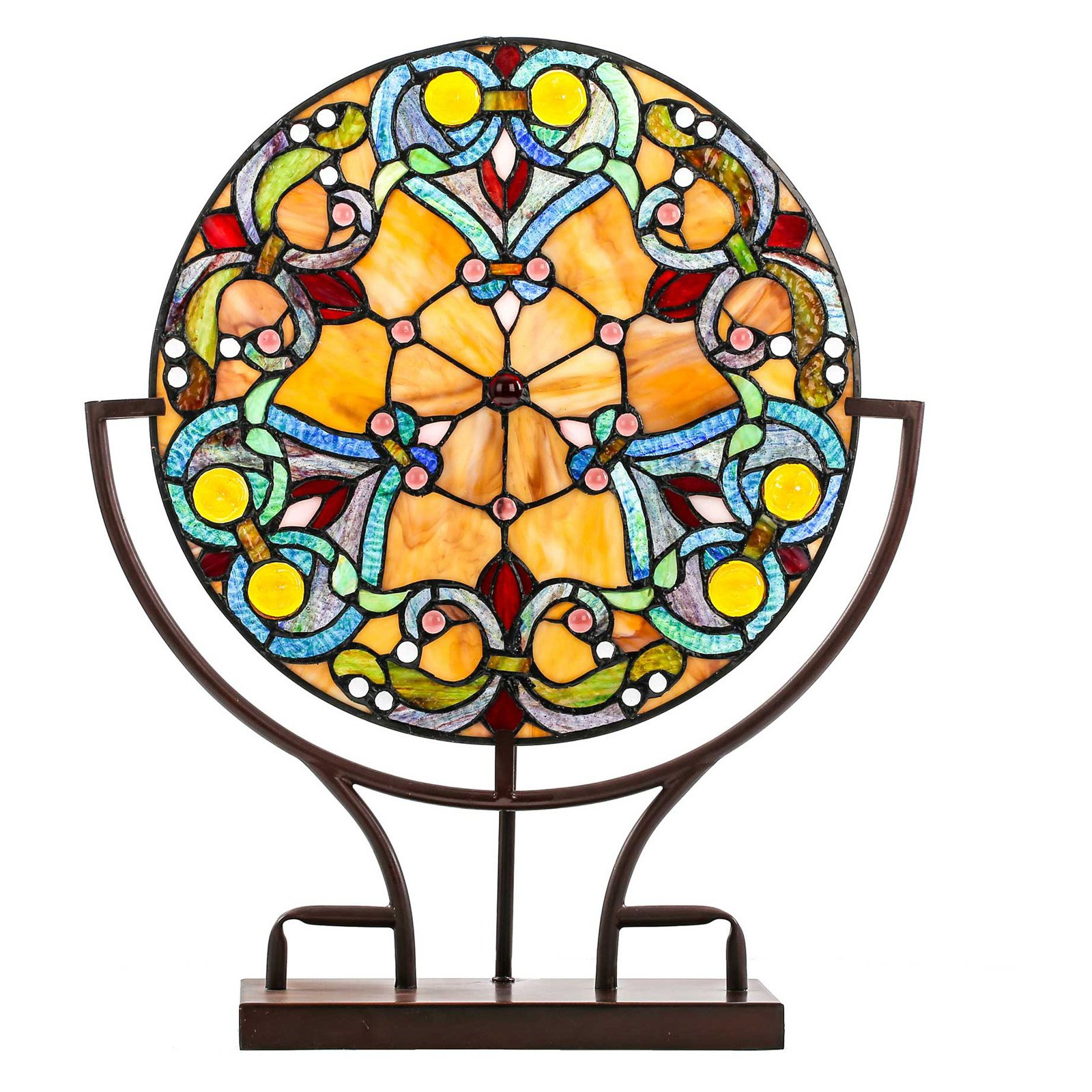 River of Goods Webbed Hearts Stained Glass Panel Lamp