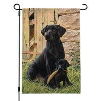 Black Labrador Retriever Dog Puppy Garden Yard Flag with Pole Stand Holder